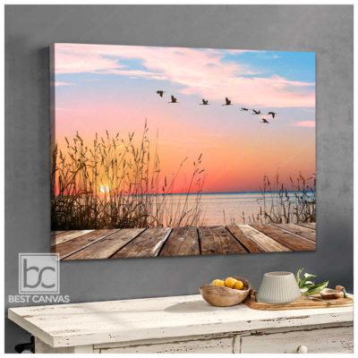 sunset lake wall art
