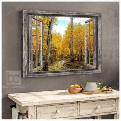 bestcanvaswallart birch forest autumn