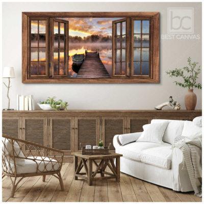 lake boat canvas art